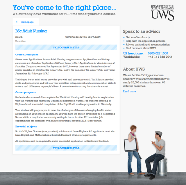 UWS clearing website — Course details
